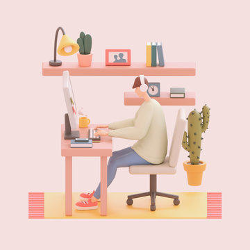 Young man sitting at office desk working on a computer. Cartoon guy with headphones listening to music. Modern teenager boy room with workplace, bookshelves, cactus. 3d illustration in pastel colors.