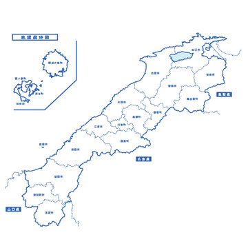 島根県地図 シンプル白地図 市区町村