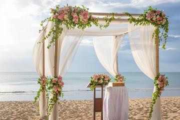 Beautiful flower wedding  on the beach