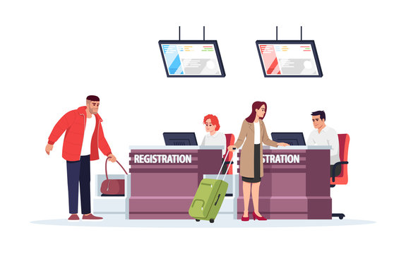 Airport registration desk semi flat RGB color vector illustration. Tourists checkin before flight. Security control for baggage. Travelers isolated cartoon character on white background