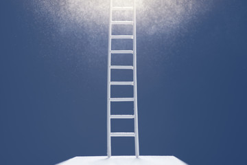 Way to success concept. Stairs up to the light.