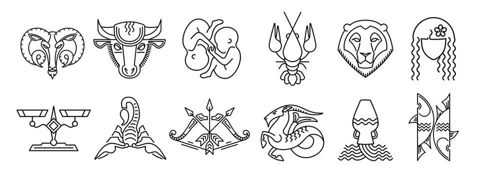 Set of zodiac signs Aries Taurus Gemini Cancer Leo Virgo Libra Scorpio Sagittarius Capricorn Aquarius Pisces Вlack and white star signs Astrological symbol logo emblem. Outline vector graphic
