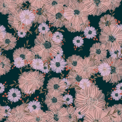 Seamless pattern with abstract flowers. Creative color floral surface design. Vector