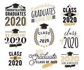 Congratulation graduation wishes overlays, lettering labels design set. Retro graduate class of 2020 badges. Hand drawn emblem with sunburst, hat, diploma, bell. Isolated on white background