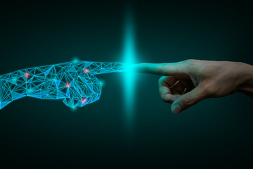 a human hand touching with digital hand, digital transformation  concept