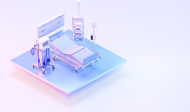 Intensive care unit medical ventilator for covid-19 coronavirus patients. Artificial lung ventilation, pneumonia caused by coronavirus covid-19 pandemic. Hospital ward room ICU ventilator 3D isometric