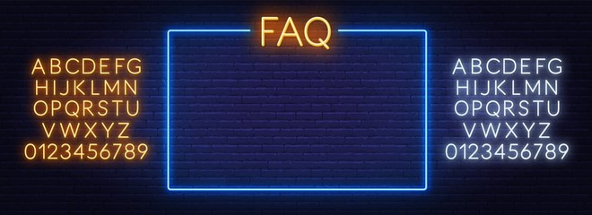 Fototapete - FAQ Frequently asked questions neon sign and the frame on the brick wall background. Template for design. Neon alphabet .