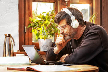 Man working from his improvised home office