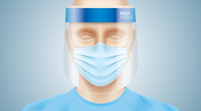 White man with a plastic face shield, wearing a blue surgical mask. Closeup shot of a person, with a virus protection medical equipment on his face. Healthcare banner vector design.