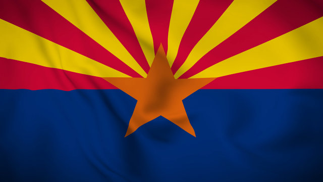 arizona flag is waving 3D animation. arizona state flag waving in the wind. 3D rendering Waving flag design.