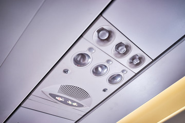No Smoking, No electronic devices, put on seat belt, reading lamps, air condition, air vent, speaker etc. on a plane