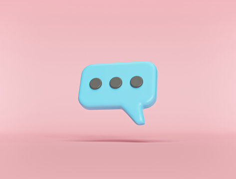 Typing in a chat bubble icon isolated on pastel background. comment sign symbol. minimal concept. 3d rendering