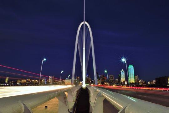 Margaret Hunt Hill Bridge Against In City At Night