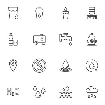 Water line icons set. linear style symbols collection, outline signs pack. vector graphics. Set includes icons as water cooler, dispenser bottle, fire hydrant, rain drop, tear, sea waves, bucket