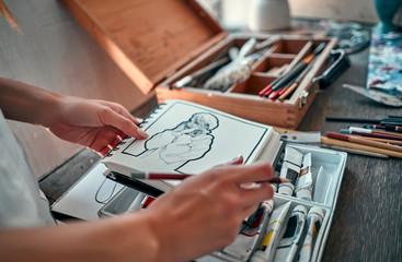 Female artist working