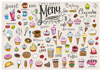 Drawings of various objects for cafes or bakery Fototapete