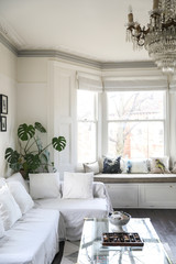 Living room decor in period property