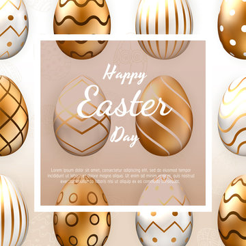 Easter card with square frame, realistic gold ornate eggs on colorful modern geometric background. Vector illustration. Place for your text.