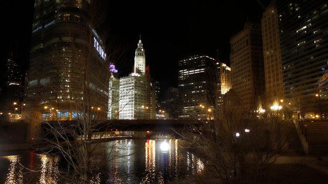 Illuminated Wrigley Building In City