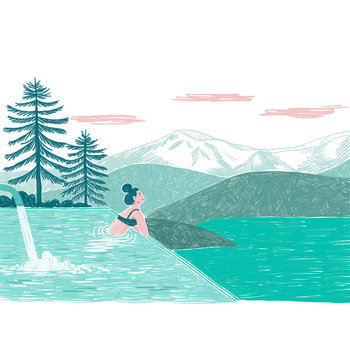 Illustration of woman relaxing in infinity pool