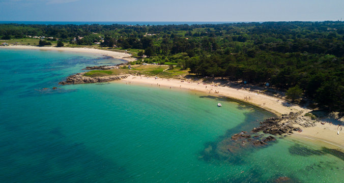 Nice beaches in l'ile d'yeu, France, with blue and clear water