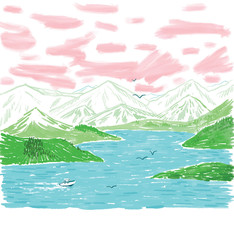 Illustration of lake with mountains in background
