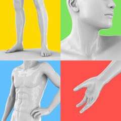 Moder Statue on Pop Art Background - 3D