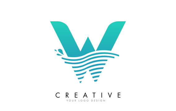 W Letter Logo with Waves and Water Drops Design.