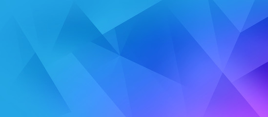 Abstract polygonal blue and purple background - wide banner