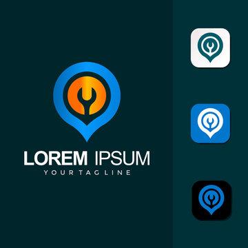 Pin Pass Location Logo Design Template Vector