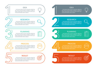 Obraz 5 steps info graphic with business icons and copy space. Infographics template with outline numbers. Five parts or options for menu and  workflow layout design. Vector illustration. - fototapety do salonu