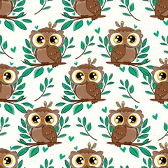 Wall Mural - Cute owl and leaves seamless pattern background. Beautiful childish print design element.