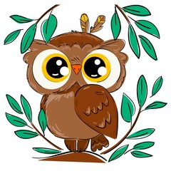 Wall Mural - Hand drawn cute owl sitting on a branch with foliage isolated on a white background. Bird vector illustration. Beautiful childish print design elements.