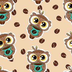 Wall Mural - Hand drawn cute owl with a coffee mug pattern background. Vector seamless bird. Coffee bean print.