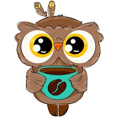 Wall Mural - Hand drawn cute owl with a coffee mug isolated on a white background childish illustration. Vector bird. Coffee bean print.