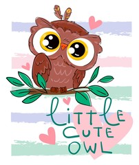 Wall Mural - Hand drawn cute owl. Bird vector illustration. Beautiful childish print. Little cute owl - handwriting. Pink Heart.