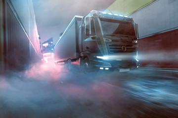 Wall Mural - LKW fährt durch Hafengelände bei Nebel (3D Rendering)