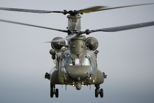 RAF Chinook helicopter on a training mission during Exercise Wessex Storm on Salisbury Plain Training Area, Wiltshire, UK