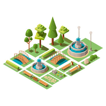 Isometric set of view design elements for garden landscape and outdoor city park. 3d vector illustration. Set of urban public park objects isolated on white background.