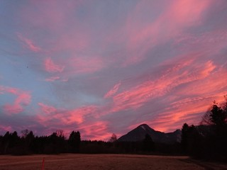 Foto auf AluDibond Lavendel Silhouette Of Landscape At Sunset