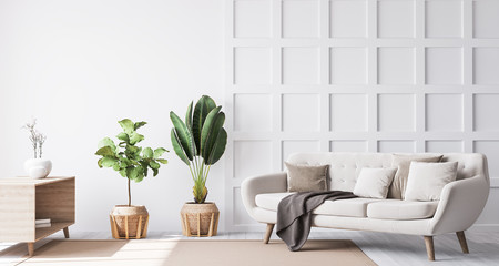 Stylish living room interior with wooden coffee table, plants and elegant accessories. Beautiful beige sofa, Template. Modern home staging. Wall paneling. Details