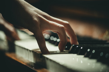 hand on piano keys close-up Wall mural