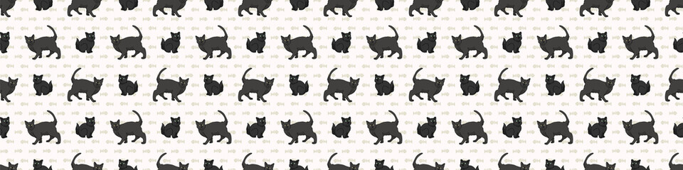 Cute cartoon Bombay cat and kitten seamless border pattern. Pedigree breed domestic kitty background. Cat lover Asian purebred washi ribbon. Feline EPS 10 trim.  Wall mural