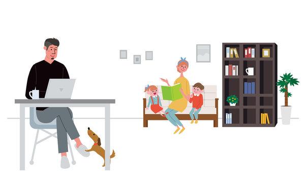 リモートワークをする男性と家族 テレワーク イラスト