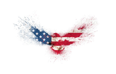 Usa grunge flag in the form of a silhouette of a flying eagle with spread wings with paint splatters isolated on a white. American flag in a shape of a silhouette of a flying eagle with paint splash. Fototapete
