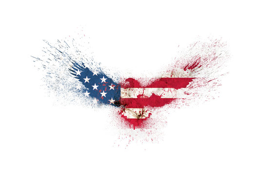 Usa grunge flag in the form of a silhouette of a flying eagle with spread wings with paint splatters isolated on a white. American flag in a shape of a silhouette of a flying eagle with paint splash.