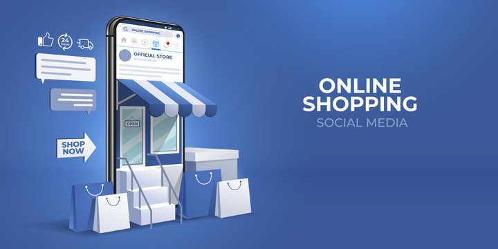 the concept of online shopping on social media app. 3d Smartphone with shopping bag, chat message, delivery, 24 hours, and like icon. suitable for promotion of digital stores, web and ad. illustration