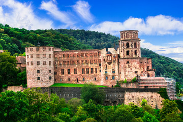 Famous medieval castles of Germany - impressive Heidelberg palace town.