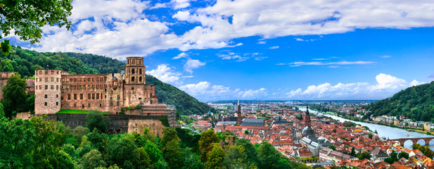 Heidelberg one of the most beautiful cities in Germany over Neckar river