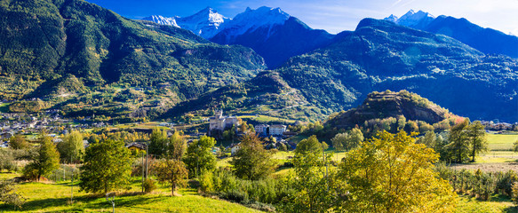 Wonderful nature of northern Italy. Beautiful Valle d'Aosta , castles and mountains